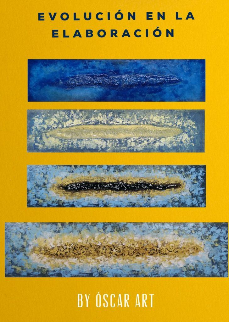 Vistas aéreas de una isla. En acrílico sobre tabla de madera. 120 x 30.