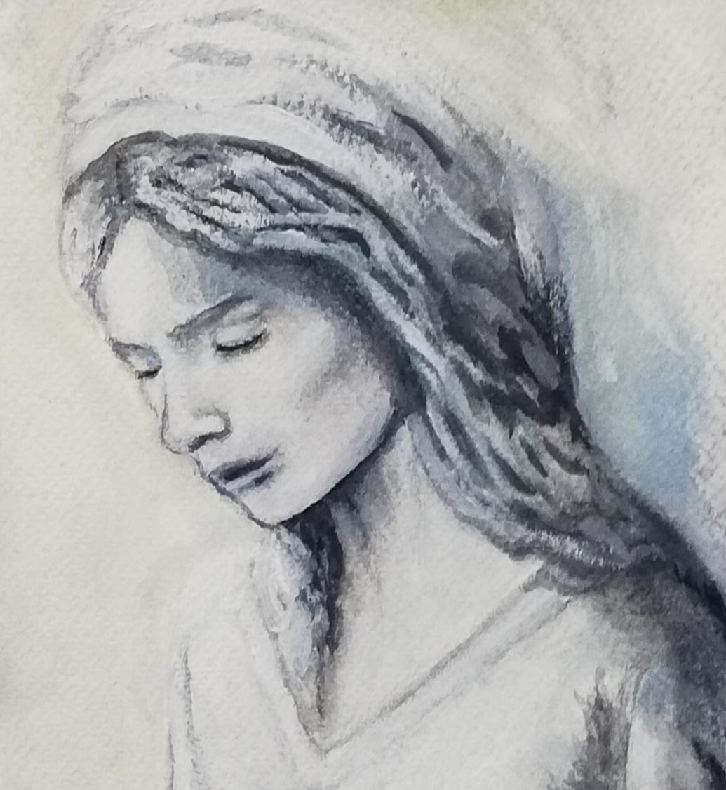 """Detalle del rostro de la """"Virgen Orante"""" de Óscar Art."""