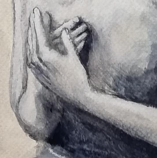 Detalle manos de la Virgen Orante de Óscar Art