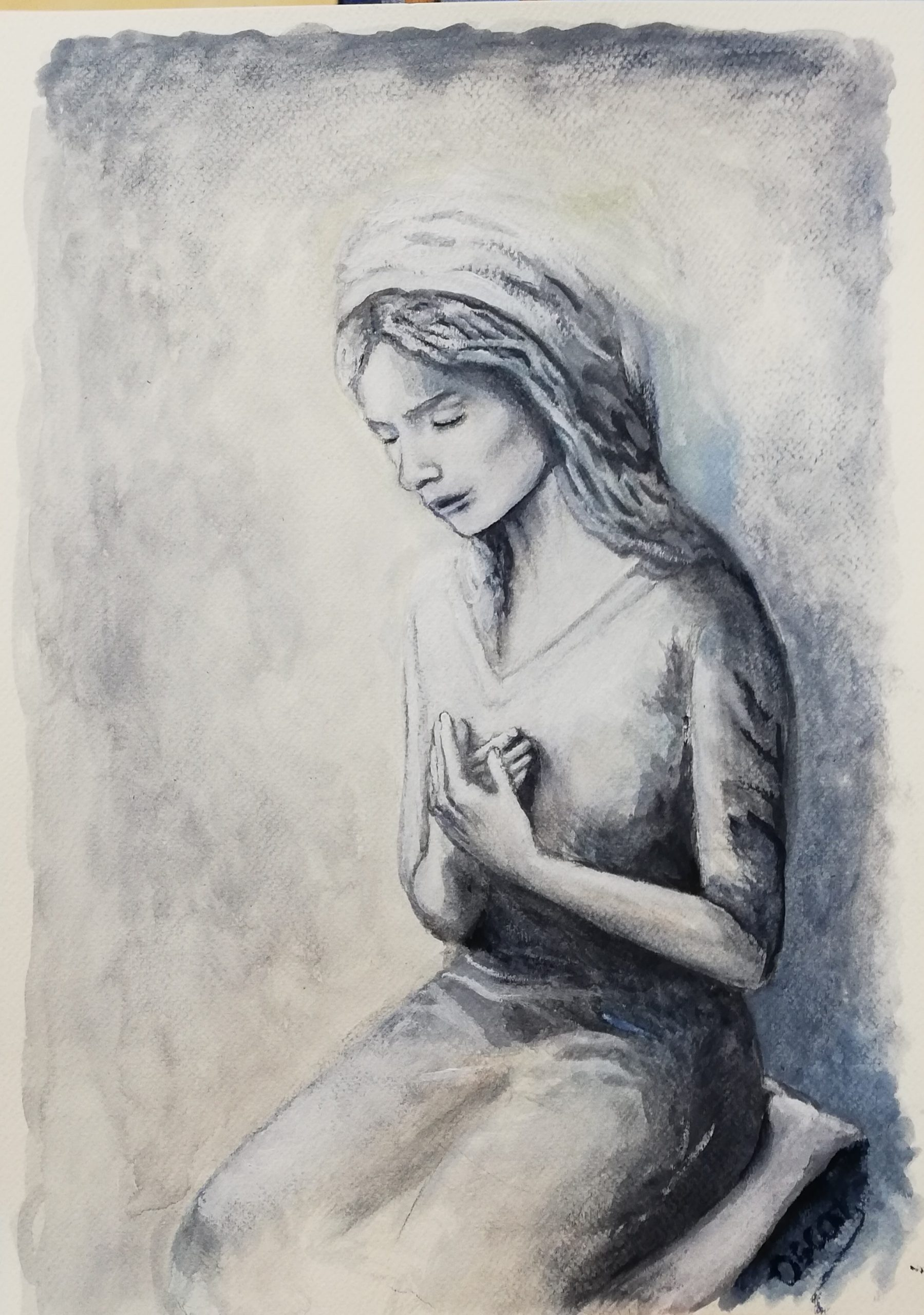 virgen orante, piedad, acuarela, Madre de Dios